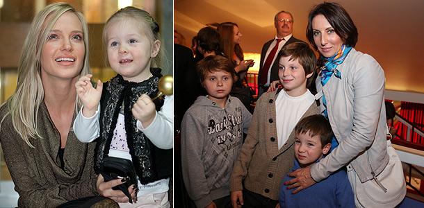 Наталья Ионова (Глюкоза) с дочерью Лидой и Алика Смехова с детьми. Фото: ИТАР-ТАСС, РИА Новости