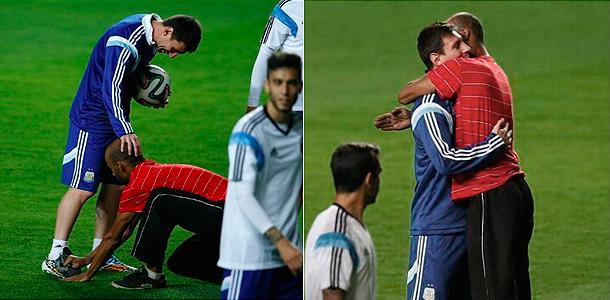 Лионель Месси и его фанат. Фото: twitter.com/Messi_fotos
