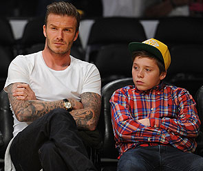 Дэвид Бекхэм с сыном Бруклином. Фото: GLOBAL LOOK press