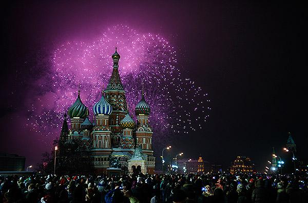Москва встретила новый год отметить