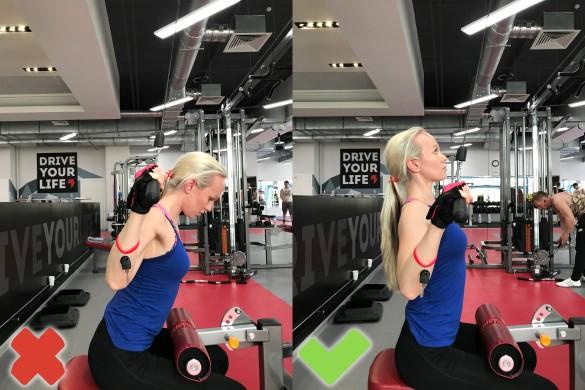 Вертикальная тяга за голову (вредная) и вертикальная тяга к груди (альтернатива).