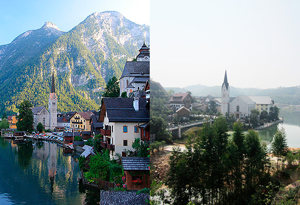 Города Халльштатт в Автрии (слева) и Китае (справа). Фото: wikipedia.org