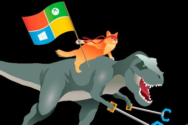 Символ Windows 10 - кот на динозавре