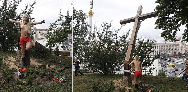 FEMEN ответят за крест на Майдане