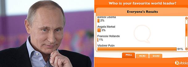 Путина назвали любимым лидером