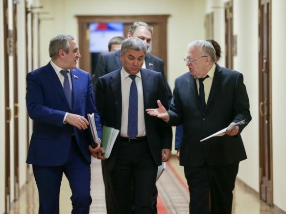 Вячеслав Володин, Сергей Неверов и Владимир Жириновский. Фото: duma.gov.ru