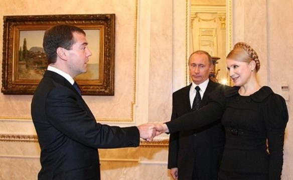 Дмитрий Медведев, Владимир Путин и Юлия Тимошенко. Фото: kremlin.ru