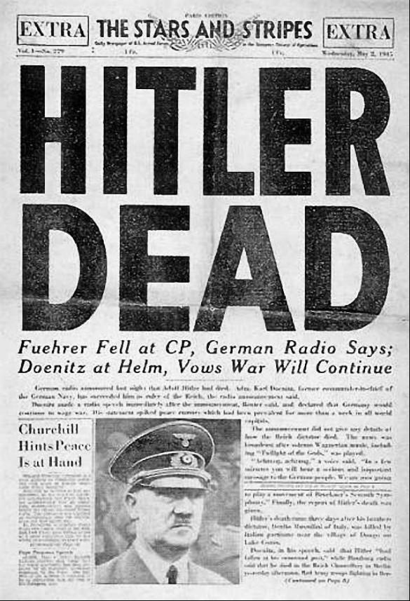 Сообщение о смерти Гитлера в американской газете. Фото: ru.wikipedia.org