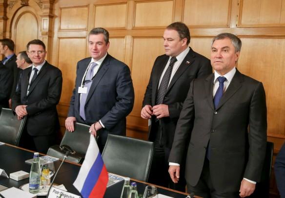 Вячеслав Володин, Петр Толстой, Леонид Слуцкий и Сергей Жигарев. Фото: duma.gov.ru