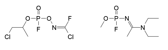 Примеры химических формул соединений газа «Новичок». Фото: wikipedia.org