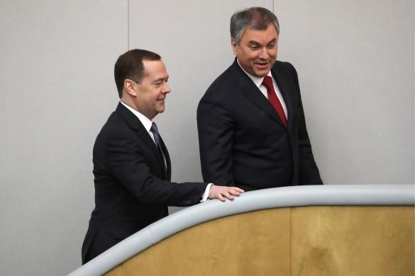 Дмитрий Медведев и Вячеслав Володин. Фото: Дмитрий Астахов/ТАСС