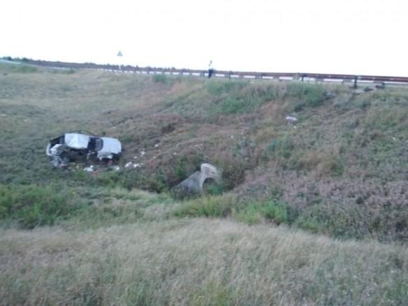 Вылетевшая с дороги иномарка, в которой погибла семилетняя девочка. Пресс-служба ГУ МВД России по Волгоградской области