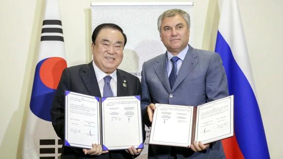 Вячеслав Володин и Мун Хи Сан. Фото: duma.gov.ru