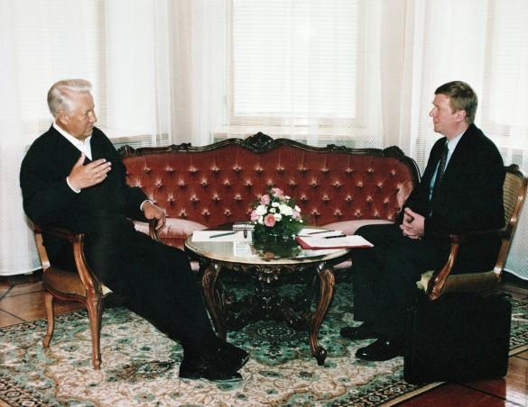 Борис Ельцин и Анатолий Чубайс. Фото: Донской Дмитрий/Фотохроника ТАСС