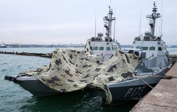 Задержанные украинские корабли в порту Керчи. Фото: TASS_30431401