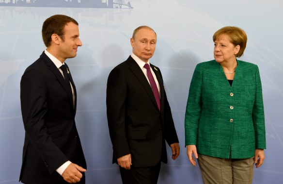 Владимир Путин, Ангела Меркель и Эммануэль Макрон. Фото: www.globallookpress.com