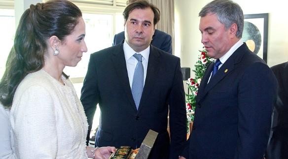 Вячеслав Володин, Родриго Майа и его супруга Патрисия. Фото: Duma.gov.ru