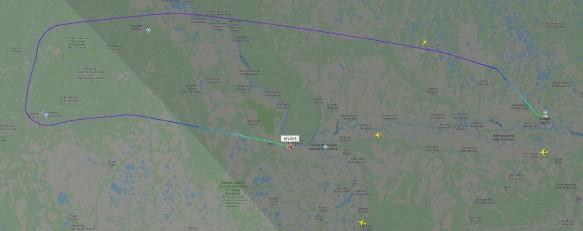 Курс самолета Сургут – Москва. Скриншот flightradar24.com