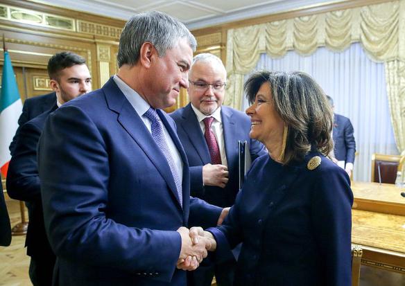 Мария Элизабетта Альберти Казеллати и Вячеслав Володин. Фото:duma.gov.ru