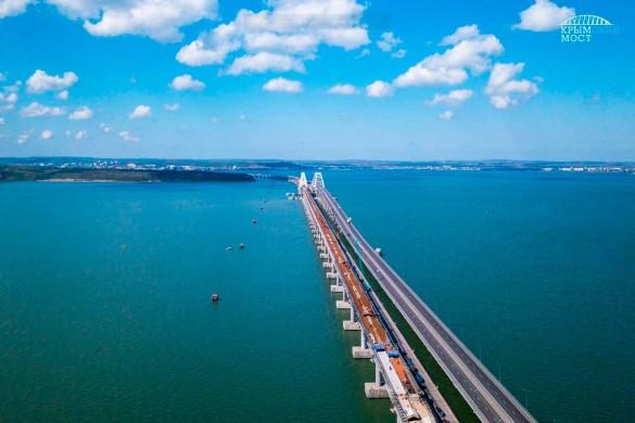 Строительство железной дороги по Крымскому мосту почти завершено. Фото: most.life