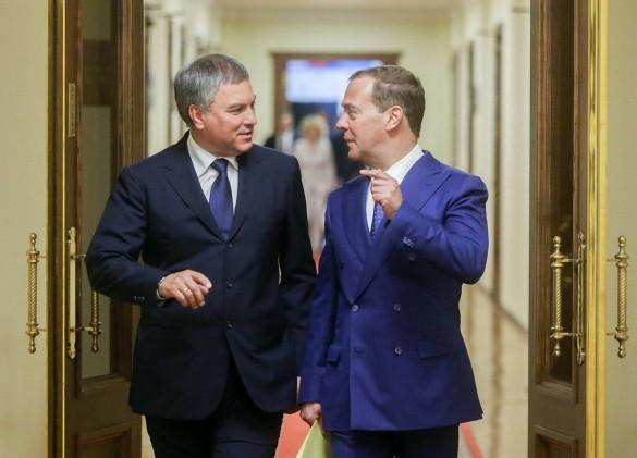 Вячеслав Володин и Дмитрий Медведев. Фото: www.globallookpress.com