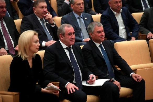 Ольга Тимофеева, Сергей Неверов и Вячеслав Володин. Фото: duma.gov.ru