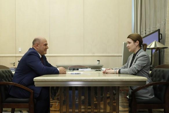 Михаил Мишустин и Людмила Некрасова. Фото: government.ru