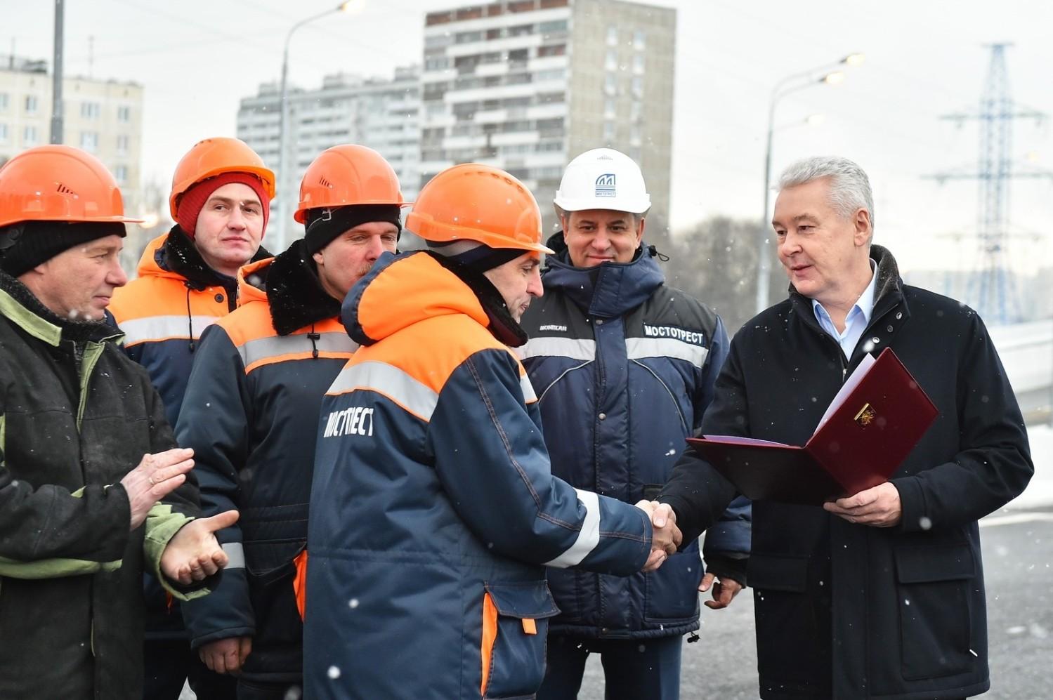 Сергей Собянин на открытии участка. Фото: stroi.mos.ru
