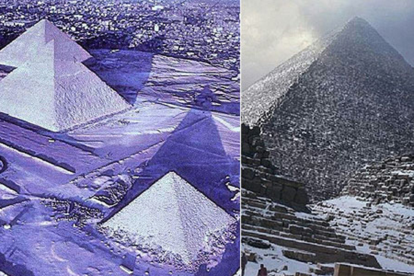 Пирамиды Египта засыпало снегом
