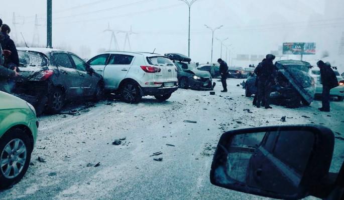 Подробности столкновения 23 автомобилей на юге Москвы