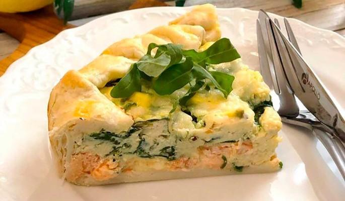 Рецепт пирога с горгонзолой и лососем