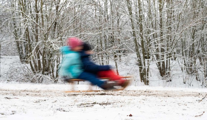 Голая женщина раздела детей на морозе и повела их в глубь леса