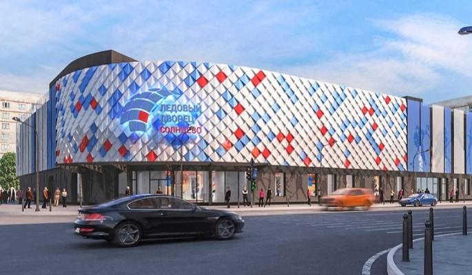 """Фасады ледового дворца """"Солнцево"""" украсили изображения хоккеистов"""